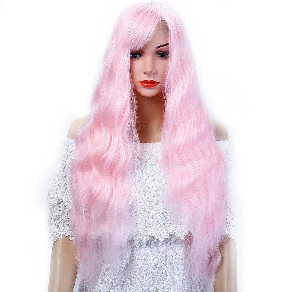 Lyserød Blå Grøn 12 farver Cosplay Parykker Kinky krøllet til kvinder langt syntetisk hår-2963