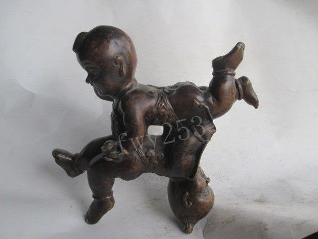 5.91 inch/The ancient Chinese copper a thriving business four boys5.91 inch/The ancient Chinese copper a thriving business four boys
