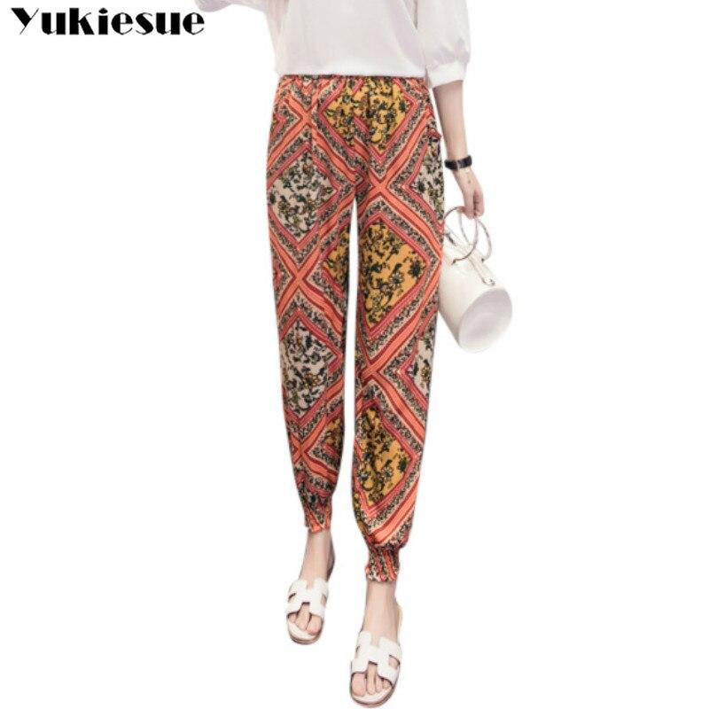 streetwear summer chiffon boho women's   pants     capris   with high waist harem   pants   for women trousers woman   pants   female Plus size