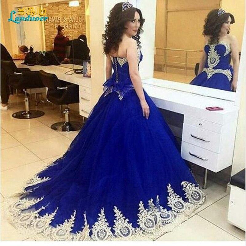 Vestido De Noiva Lace Up Apliques de Oro vestido de Bola azul real ...