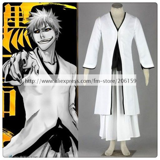 Bleach Ichigo Kurosaki Bankai 2nd White Cosplay Costume For Halloween White Kimono Cloak Robe Men Cosplay