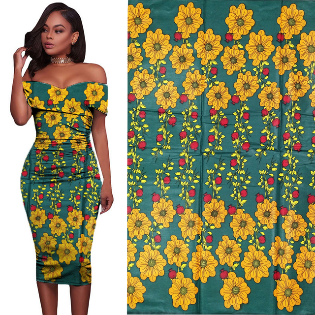 green flowers african ankara fabric ankara dresses ...