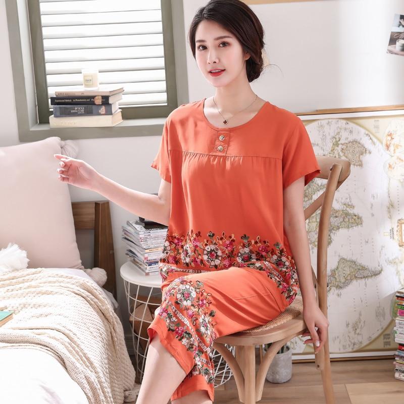 Image 3 - Womens  short sleeve Embroider Flower pajamas set Summer New 3XL cotton pyjamas For mother Soft Home Leisure wearPajama Sets   -