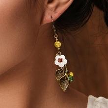 Антикварные серьги с камнями в виде цветка, Винтажные висячие серьги для женщин, висячие серьги в виде листьев, модное ювелирное изделие, Прямая поставка