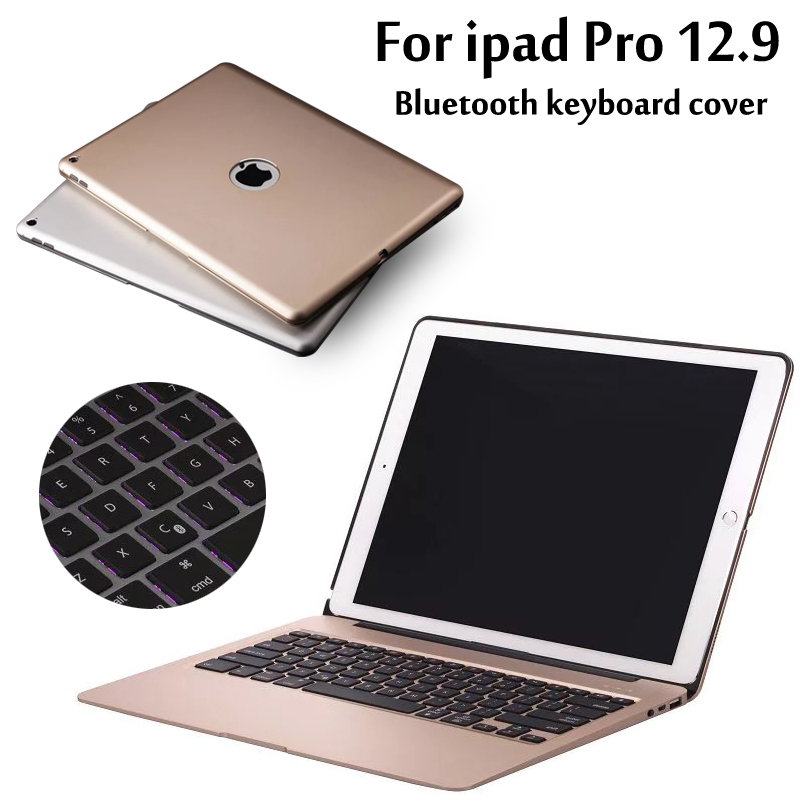 Aluminum Keyboard Cover Case with 7 Colors Backlight Backlit Wireless Bluetooth Keyboard & Power Bank For ipad pro 12.9 + Gift ultrathin wireless keyboard for ipad air bluetooth keyboard with 7 colors backlight backlit magnetic rotating slot smart cover