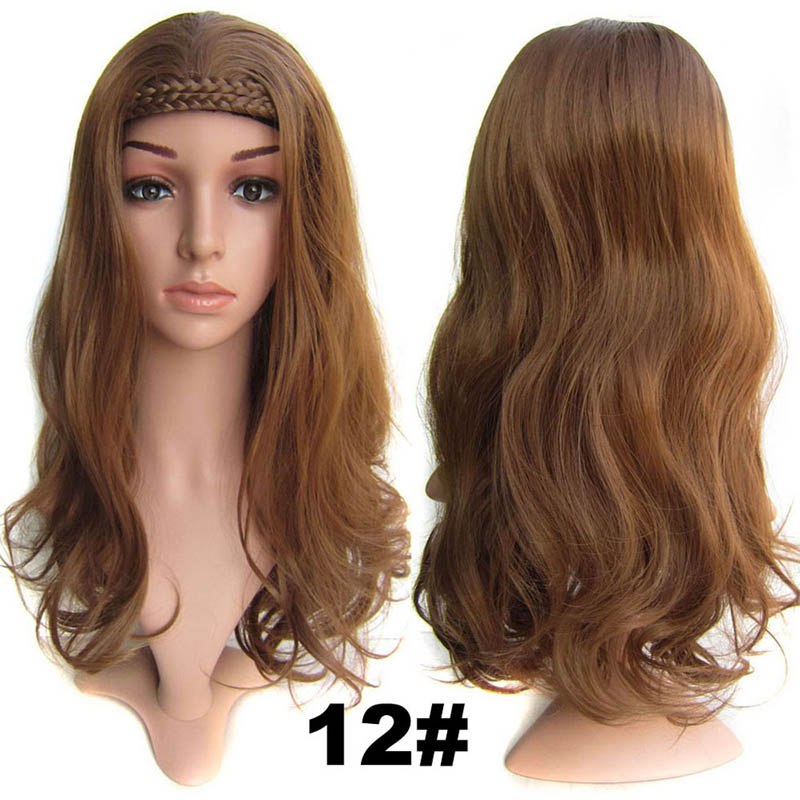 #12 Light Brown Color Synthetic Hair Natural Wigs Medium 22inch 55cm 210g Wig Fall Wavy Heat Resistant Fiber 16Colours Available