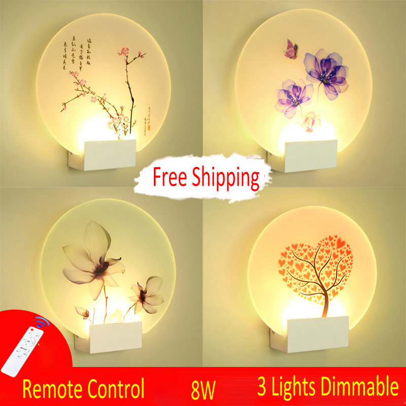 Remote Control Modern Wall Lamp Romantic Wall Picture For Living Room Bedroom Bedside Lighting LED Round Square Wall Lamp LightsRemote Control Modern Wall Lamp Romantic Wall Picture For Living Room Bedroom Bedside Lighting LED Round Square Wall Lamp Lights