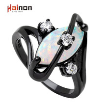 Hot Sale Black Gun Plated Crossed Marquise Fire Opal Ring With AAA Cubic Zircon Best Gift Wedding Ring White Opal