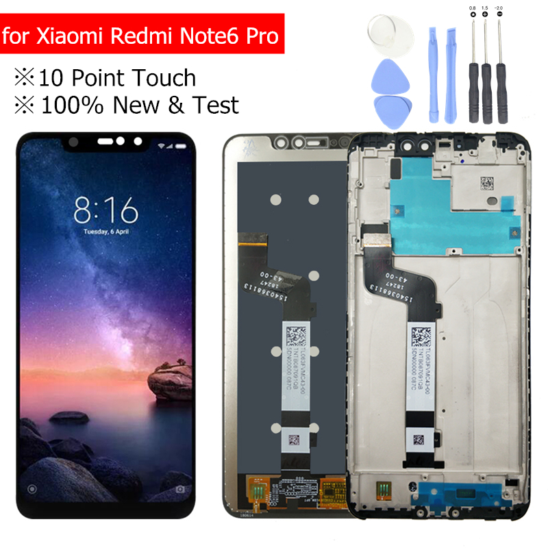 100% New for Xiaomi Redmi Note 6 Pro LCD Display with Frame Touch Screen Digitizer LCD Redmi Note6 Pro Assembly Repair Parts100% New for Xiaomi Redmi Note 6 Pro LCD Display with Frame Touch Screen Digitizer LCD Redmi Note6 Pro Assembly Repair Parts