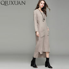 87b552ac20e QIUXUAN Fashion Cable Mixed Knit Long Sweaters Long Sleeve Pockets Detail  Stepped Hem Drop Shoulder Maxi Dress Women Knit Jumper