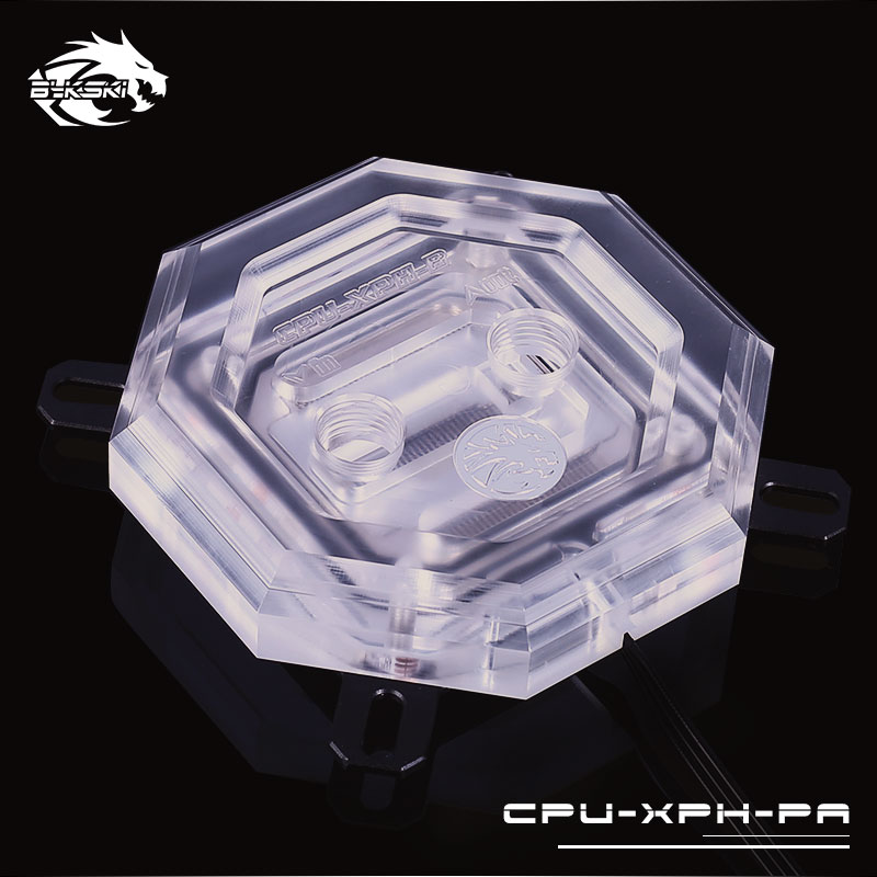 Bykski CPU-XPH-PA RBW Led CPU Water Cooling Copper Block for Intel 115x 20xx free shipping 53 53 14mm pure copper water cooling block for intel cpu buckle computer copper cpu water block
