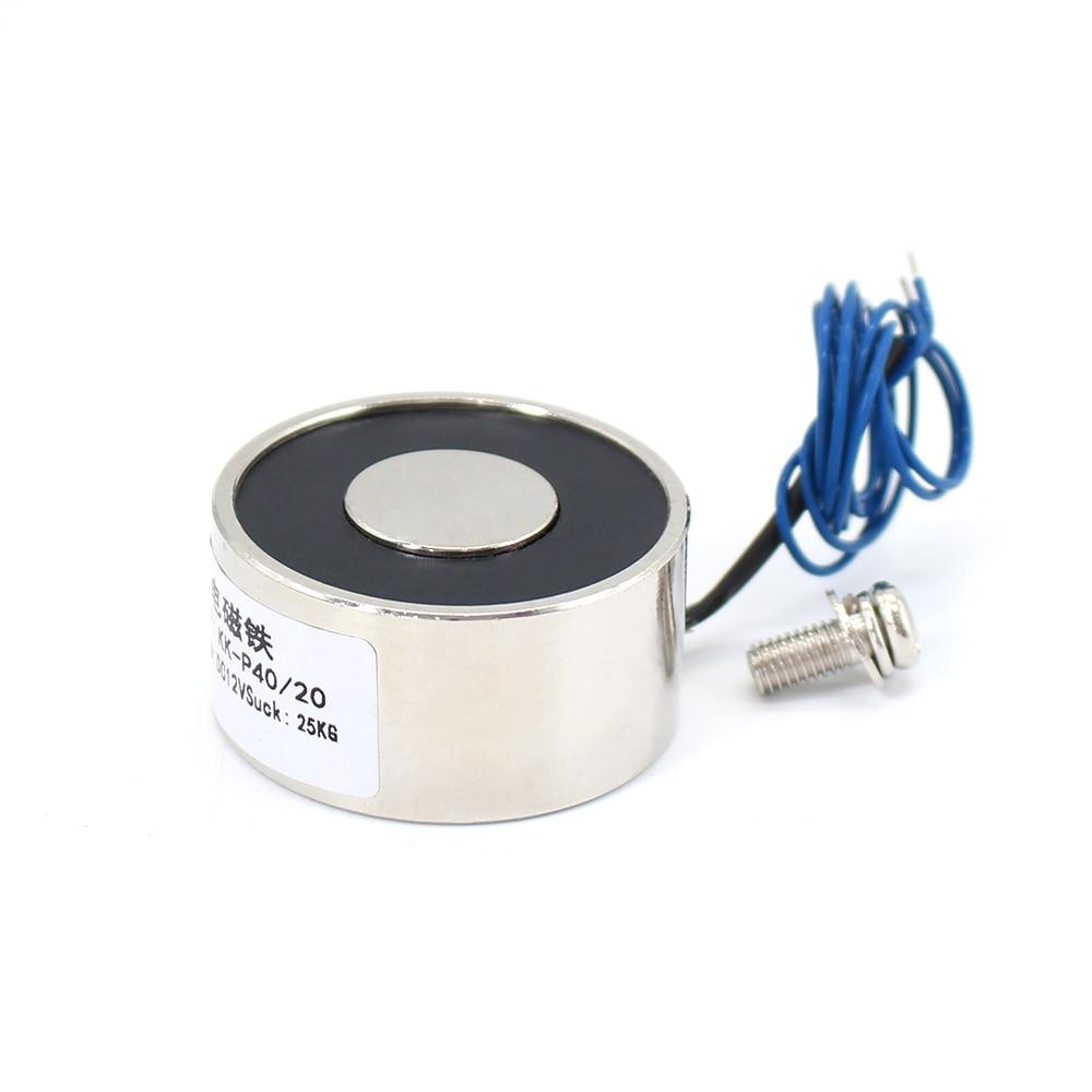 40*20mm Suction 25KG 250N DC 5V/12V/24V Mini solenoid electromagnet electric Lifting electro magnet strong holder cup DIY 12 v metal 250n 25kg electric lifting magnet holding electromagnet 12v 24v dc 250n high quality