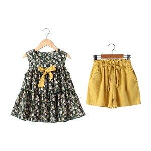 Image 5 - Conjunto de ropa de verano para niñas, Tops y pantalones cortos sin mangas, traje informal, chándal, 6, 8, 10 y 12 años