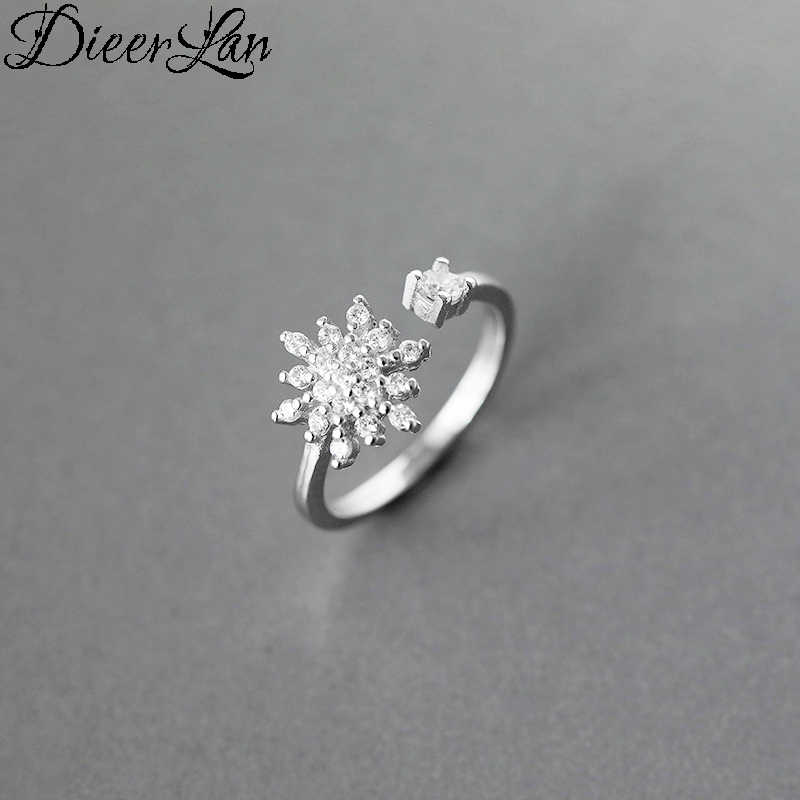 DIEERLAN البوهيمي شخصية 925 الاسترليني الفضة الثلوج خواتم الاصبع للنساء خمر قابل للتعديل خاتم من الطّراز العتيق Anillos