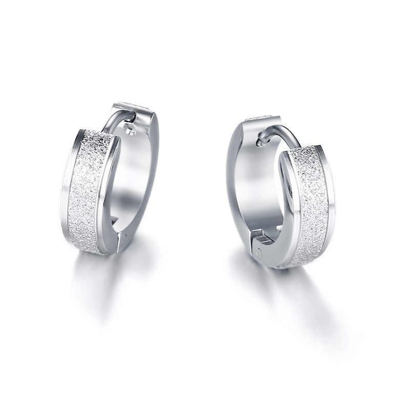Vnox Cool Punk Small Hoop Earrings for Women Circle Earings Sandblasting Matt Stainless Steel Casual Female Brincos Jewelry