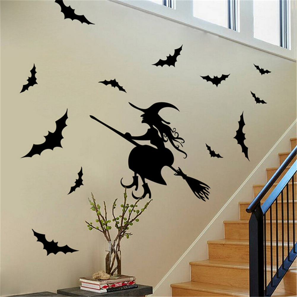 Black Witch Bat Wall Sticker Paper Art Removable Decals Santa Furniture Decorative Stickers Kids Rooms Wall Decals Halloween-in Wall Stickers from Home ... & Black Witch Bat Wall Sticker Paper Art Removable Decals Santa ...