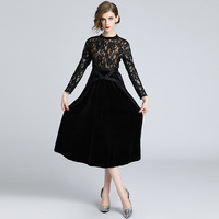 Black Lace Velvet Patchwork Long Sleeve Tunic Midi Dress Women Elegant Vintage Sexy Office Party Beach Dress 2019 Clothing