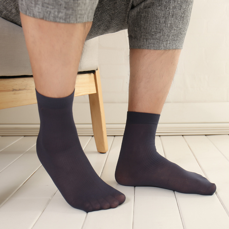 10 Pairs/Lot T Very Light Mens Silk Stockings Mens Thin Section Socks Suit Dress Hose Sexy Sheer Man Stocking