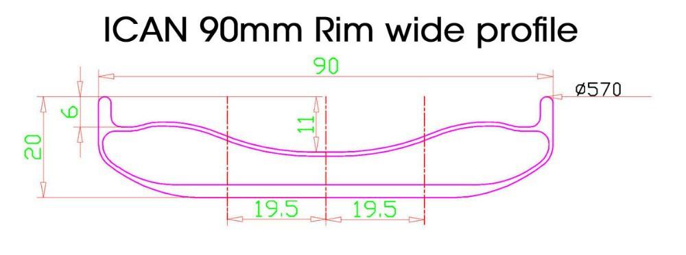 90mm Rim wide profile