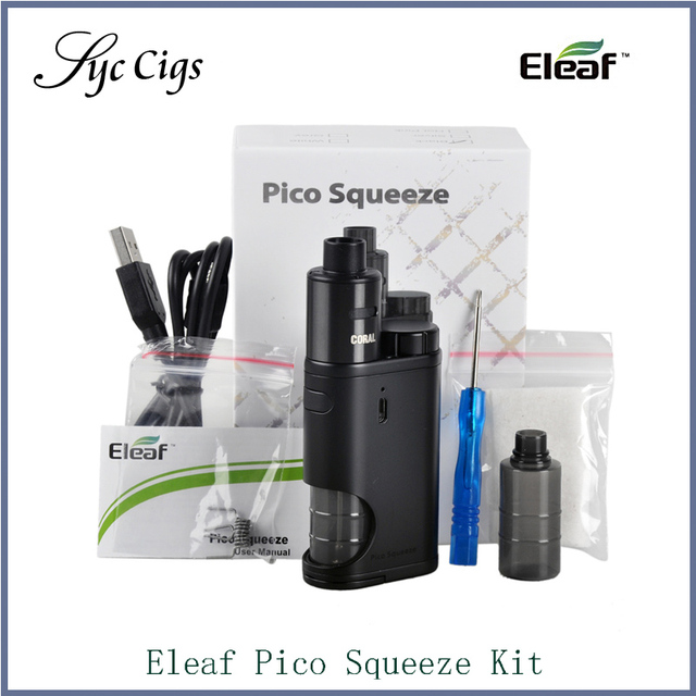 Original eleaf pico squeeze 50 w kit con 6.5 ml atomizador tanque de coral pico squeeze starter kit de cigarrillo electrónico vaporizador vape