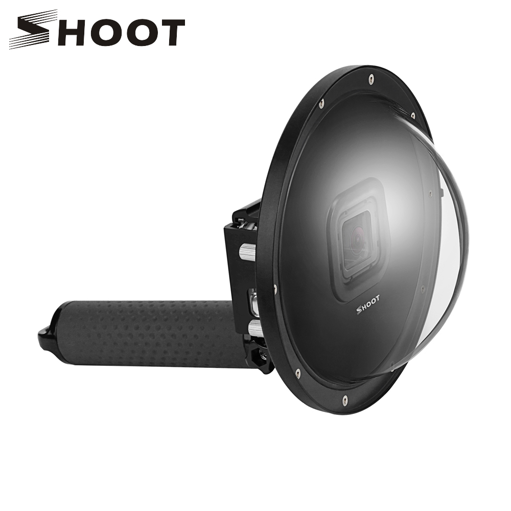 Стрелять 6 дюймов купольный чехол для дайвинга для GoPro Камера Go Pro 7 6 5 черный S Порты и разъёмы s Cam с Водонепроницаемый случае купол для GoPro 7 6 5 ...