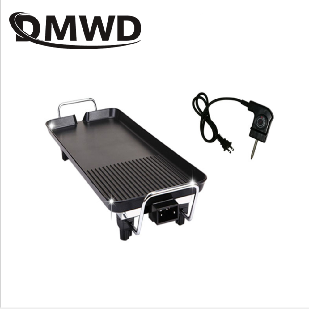 DMWD 110V Electric Roast Kebab Cooking Grill BBQ Roaster Oven Non-stick Barbecue Raclette Smokeless Griddles Baking Pan Hotplate 1pc hot sale 100%quality guaranteed doner kebab slicer two blades electrical kebab knife kebab shawarma gyros cutter