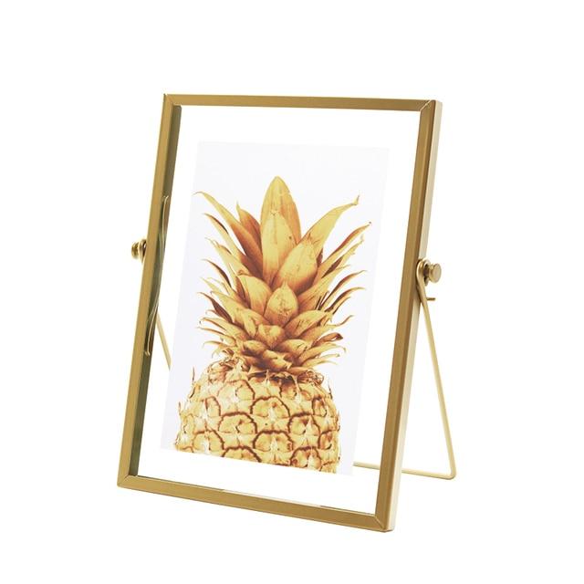 זהב מתכת וזכוכית תמונה מסגרת מתקפל חוט שולחן עבודה תמונה פליז מסגרות עבור דיוקנאות ונוף