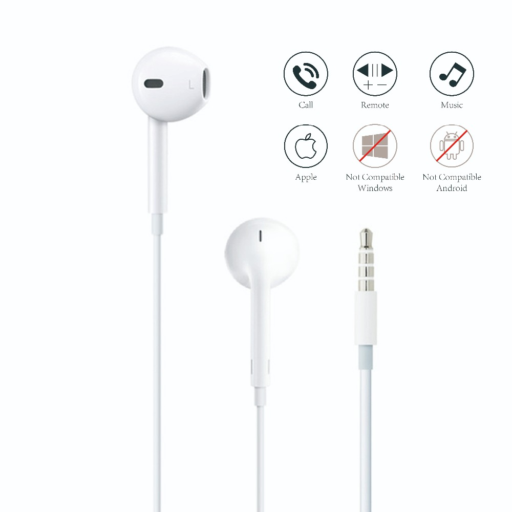 Apple's Earphone for Mobile Phone Apple EarPods with 3.5mm Ear phones For iPhone 5/5s/5c/6/6s Plus/SE iPad Mac with Mic