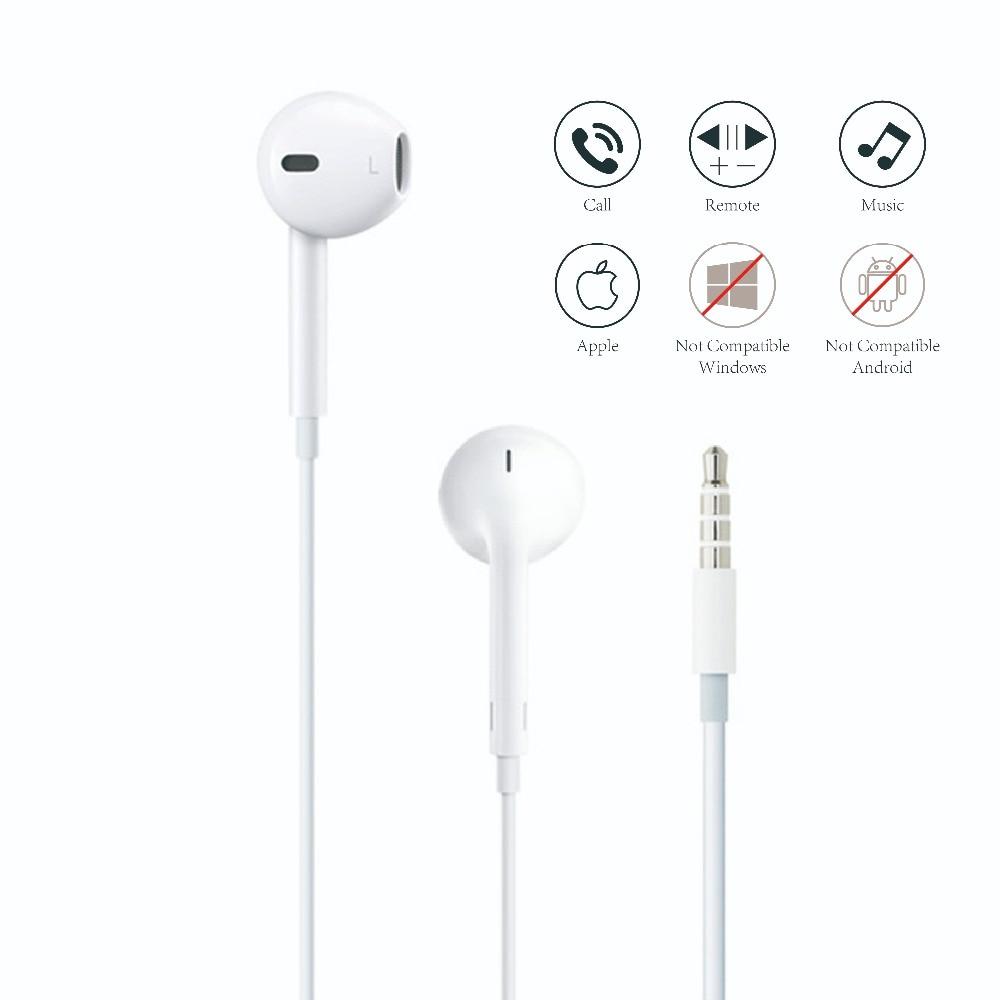 Apple auricular para teléfono móvil Apple EarPods con clavija de 3,5mm auriculares para iPhone 5/5S/5c 6/6/6 s Plus/SE iPad Mac con micrófono