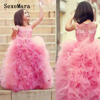 Cute Ball Gown Flower Girls Dresses For Weddings Ruched Tulle Floor Length Lace Pink Girls Pageant Dresses Toddler Dresses