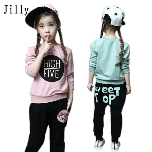 Nova moda meninas treino bebê crianças roupas esportivas definir coloful letra impressa crianças suit vestuário set para 2-7years velho