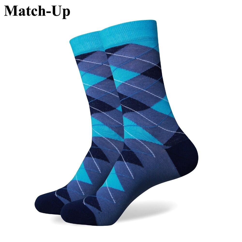 Match-Up Free shipping Mens combed cotton socks high quality fashion christmas MEN argyle socks