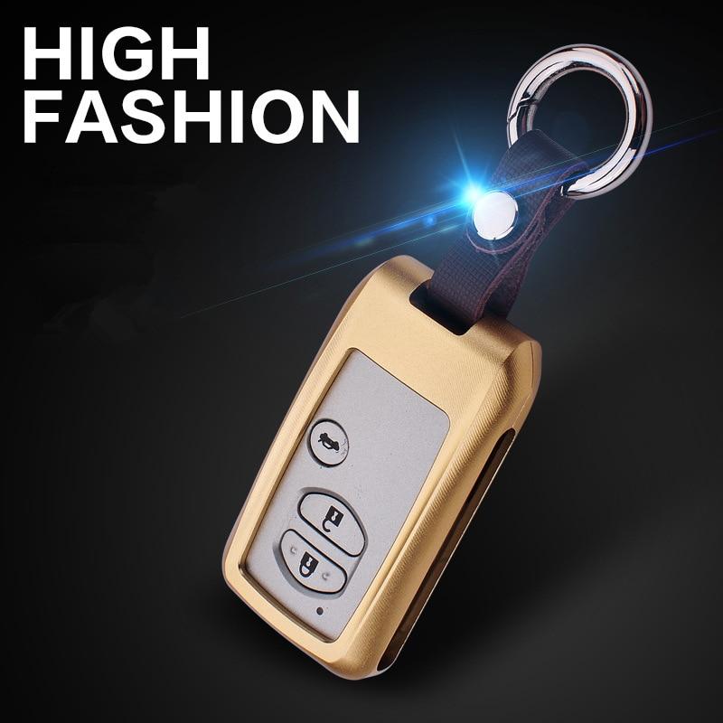 LUNASBORE Aluminum Alloy Car Key Case Cover Pocket Bag For Toyota Land Cruiser Prado 150 Camry Prius Crown accessories