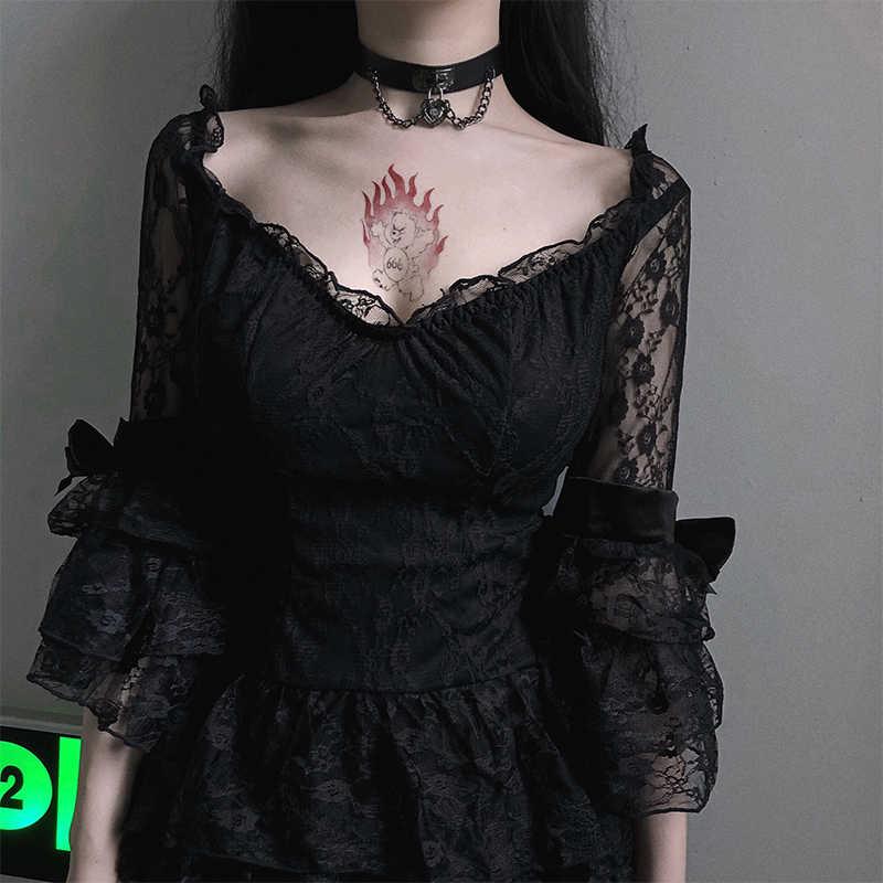 Gothic ใหม่ลูกไม้เซ็กซี่ V คอผู้หญิง Ruffles ชุดชีฟองจีบชุด