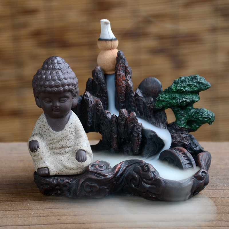 Home Decor Buddhism Incense Burner Rockery Buddha Monk Bullet Blackflow Incense Cones Burner Smoke Ceramic Censer Burner