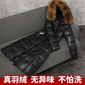 Image 4 - Kış kadın kalın uzun kaban büyük boy bayan gri ördek aşağı ceket büyük boy kürk kapşonlu palto rüzgar geçirmez ceketler giyim WZ626