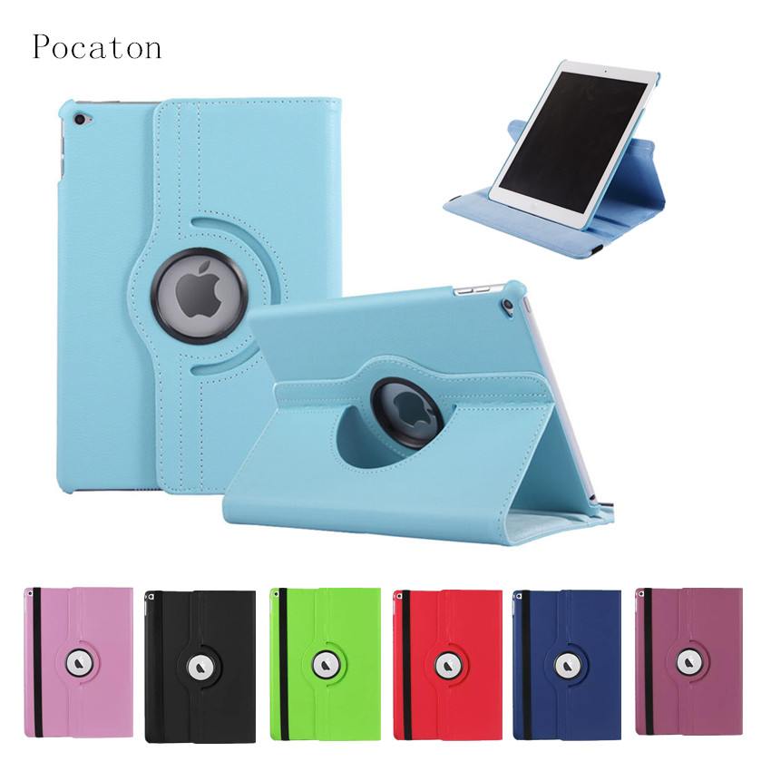 Case for ipad air2 ,Pocaton Cover for iPad Air 2 tablet 360 Rotation Flip PU Leather Smart Case Cover with Stand Function A1567 flip left and right stand pu leather case cover for blu vivo air