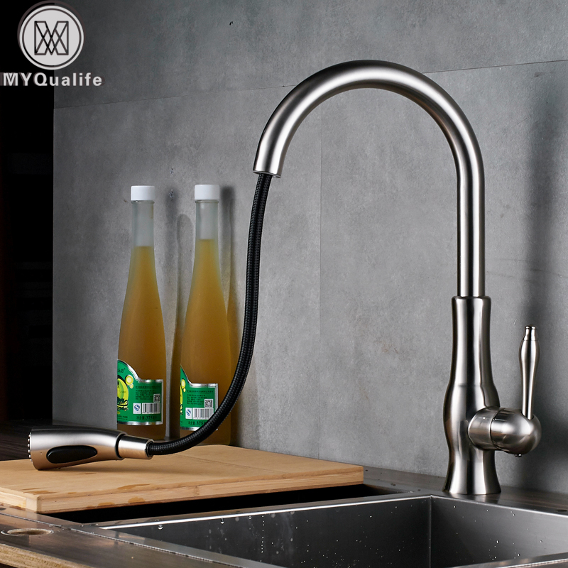 Brushed Nickel Pull Out Kitchen SInk Mixer Faucet Single Lever Stream Sprayer Spout Bathroom Kitchen Faucet Hot and Cold Water good quality brushed nickel kitchen faucet deck mounted hot and cold water pull out sstream sprayer spout kitchen mixer tap