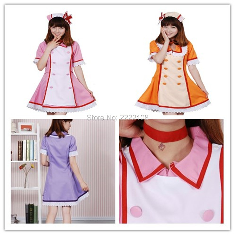 2018 New Anime Vocaloid 2 Ren/Rin Hatsune Miku Cosplay Costume Nurse Dress Uniform Set for party coaplay in stock Free Shipping