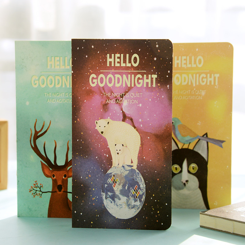 купить Hello goodnight notebook Magic fluorescent hard copybook Sketchbook diary note stationery office material School supplies по цене 299.19 рублей