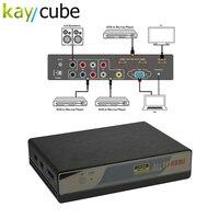 Kaycube 6 в 1 аналоговый VGA RCA компонентный YPbPr USB HDMI к HDMI 4 К масштабирования переключатель на шнуровке из 4K2K 30 Гц ИК пульт дистанционного управлен
