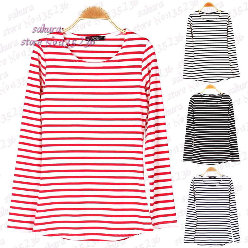 4 colores mujeres de ocio o-cuello rayado camisetas de manga larga Tops camiseta