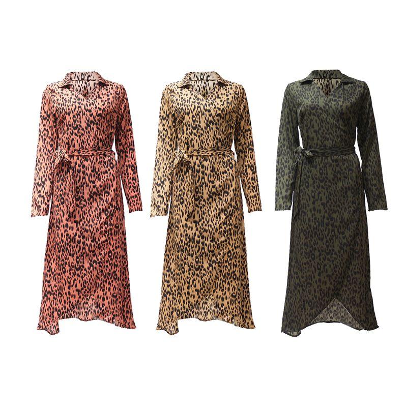 Женские Плюс Размеры искусственная Обёрточная бумага v образным вырезом Шифоновая блузка платье с длинным рукавом Boho леопардовый воротник
