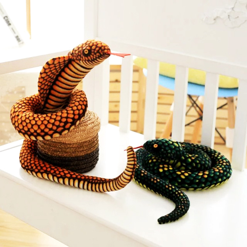 110CM Big Snake Plush Toys Animal Cobra/Python Funny Birthday Party Toy Pillow Stuffed Simulation Snake Dolls For Children Boys