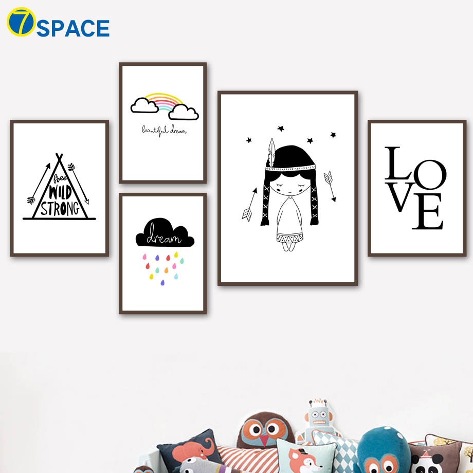 Cartoon Cloud Girl Love Posters And Prints Wall Art Canvas Painting Nordic Poster Canvas Art Wall Pictures Kids Room Home Decor in Painting Calligraphy from Home Garden