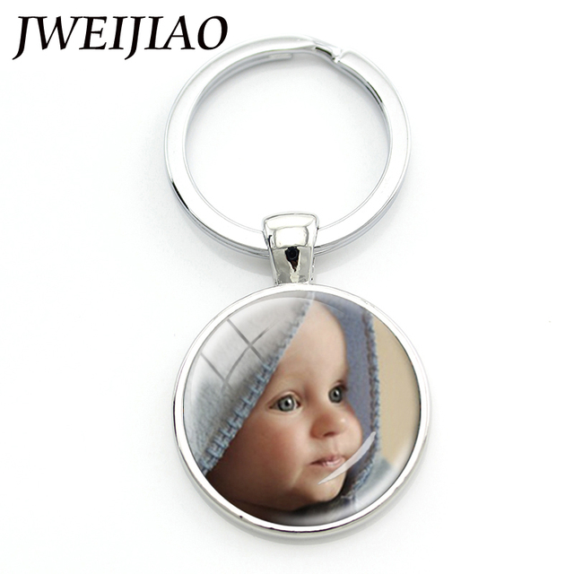 JWEIJIAO Personalized Photo key chains Custom Keychain Photo of Your Baby Child Mom Dad Loved Pet Family Gift NA01
