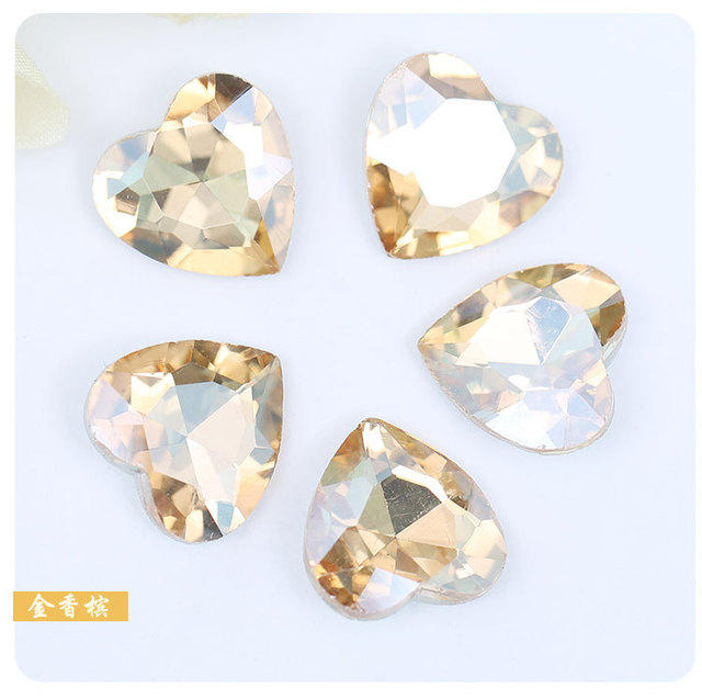 High grade jewelry accessories Champagne color heart-shaped Pointed bottom  crystal rhinestones DIY Watch and Wedding dress 20pcs 5cf406e90566