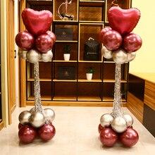 Wedding Decoration Balloon Column Base+Metallic Balloons+Rain silk pendant Birthday Party Supplies  Celebration