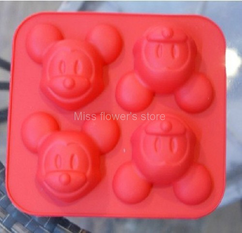 d8def5364 Pink   Red Cartoon Mouse Shape Soft Silicone Cake Mold Pudding Jelly Mold  Handmade Soap Mold