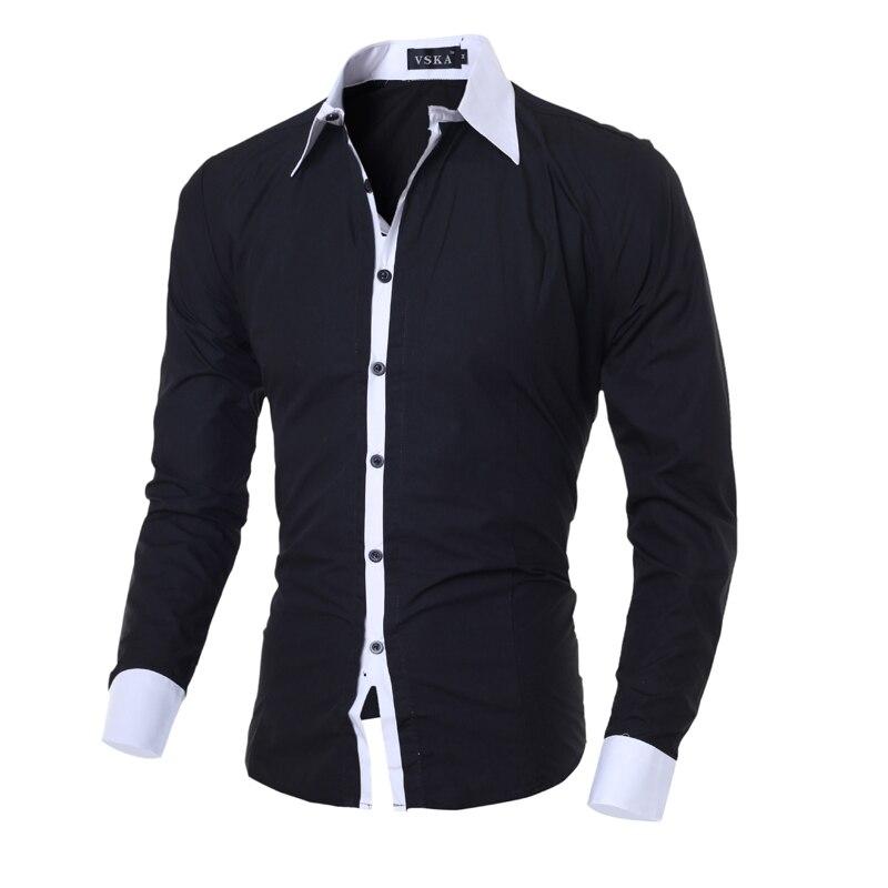 2018 új divat márka alkalmi férfi ing hosszú ujjú Slim Fit - Férfi ruházat
